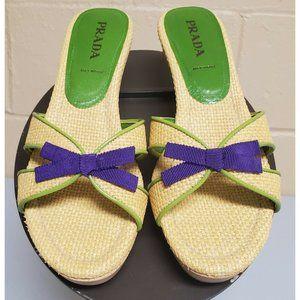 Prada Raffia Green Trim Purple Grosgrain Bow Heels